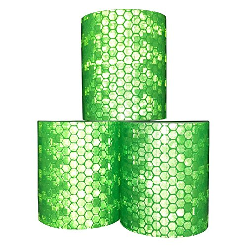 Viewm Reflective Tape 3 Rolls Safety Warning Tapes 2 inch × 3.28 yard / 5cm × 3m (Green) by Viewm