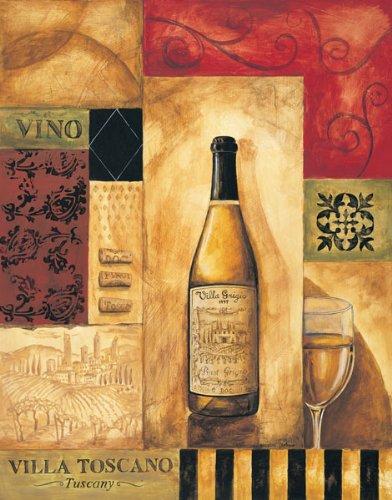 Villa Toscano Modern Sign Popular Grigio Retro Italian Pinot Classic White Wine Poster 22X28