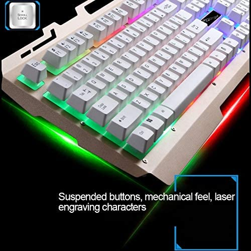 Color : White Mouse Cable Length: 1.3m G700 USB RGB Backlight Wired Optical Gaming Mouse and Keyboard Set Keyboard Cable Length: 1.35m