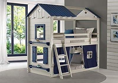 DONCO Twin Star Gaze Bunk Bed BUNKBED, TWIN/TWIN, Light Grey/Blue