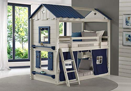DONCO Twin Star Gaze Bunk Bed BUNKBED, TWIN/TWIN, Light Grey/Blue by DONCO
