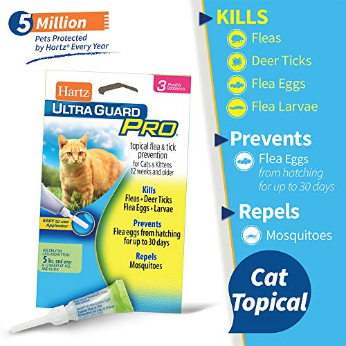 Hartz UltraGuard Pro Topical Flea & Tick Prevention for Cats and Kittens - 3 Monthly Treatments
