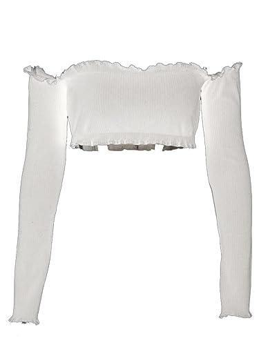 Simplee Apparel OFF - hombro mujer manga larga de punto acanalado sudadera Stretch crop top