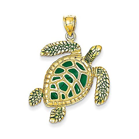 14k Yellow Gold 3-D Enameled Sea Turtle Pendant (24 x 33 mm) - Gold Polished Turtle