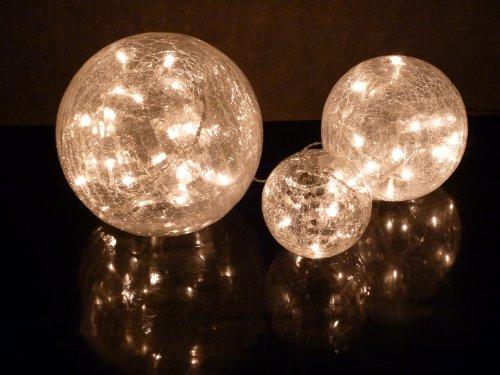 Stimmungsvolle Glas Kugelleuchte Kugellampe 3x Weihnachts-Dekoration Fiona Durchmesser 10+15+20cm mit LED Lichterkette 60 flammig Dekorationsleuchte Tischleuchte