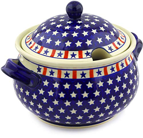 Polish Pottery 168 oz Tureen (Americana Theme) + Certificate of Authenticity