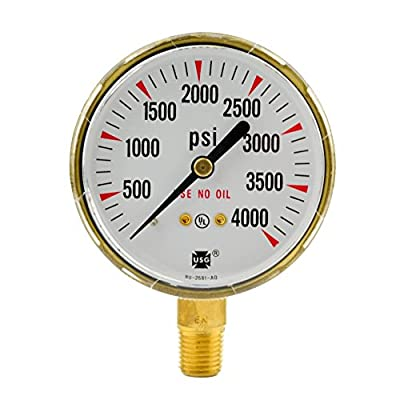 "2-1/2"" x 4000 PSI Welding Regulator Repair Replacement Gauge For Oxygen 2.5 inch"
