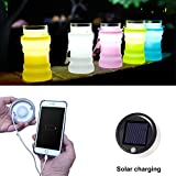 Collapsible Water Bottle Folding Solar Camping Lantern   Pocket-sized Travel Colorful Led Lights,Rechargeable Waterproof Outdoor Night Lantern by cAoku