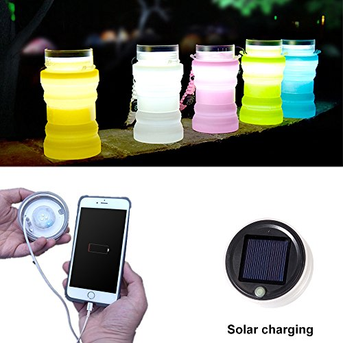 Collapsible Water Bottle Folding Solar Camping Lantern | Pocket-sized Travel Colorful Led Lights,Rechargeable Waterproof Outdoor Night Lantern by cAoku by cAoku