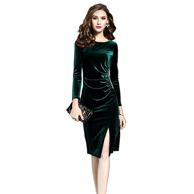 Olddnew Women\'s Long Sleeve Green Velvet Dress - Crewneck Bodcon ...
