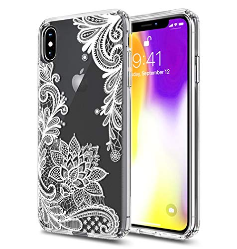 - iPhone Xs Max Case, XS Max Case, iPhone 10(Ten) S Max Case Huness TPU Grip Bumper and Clear Flower Transparent Hard PC Backplate Hybrid Slim Phone Case for Apple iPhone Xs Max Plus 2018(6.5