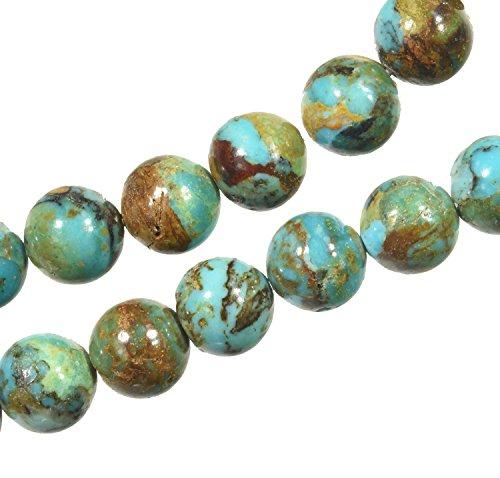 10 Kingman Arizona Boulder Turquoise Round Beads 8mm (Kingman Turquoise Necklace)