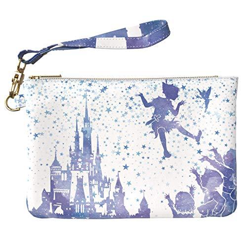 (Lex Altern Makeup Bag 9.5 x 6 inch Cute Disney Peter Pan Tinkerbell Castle Funny Zipper Organizer Bathroom Storage Girls Accessories Design Print Purse Pouch Cosmetic Travel PU Leather Toiletry Women)