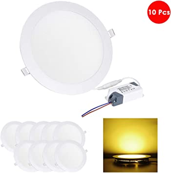 10 pcs 15W Round Cool White//Daylight LED Recessed Ceiling Panel Down Light Bulbs