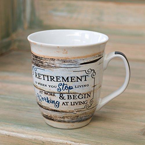 Retirement Working At Living Distressed Wood Design 16 Ounce Ceramic Stoneware Coffee Mug