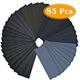 Paxcoo 85Pcs 400 to 3000 Grit Wet Dry Sandpaper Assortment for Automotive Sanding Wood Finishing