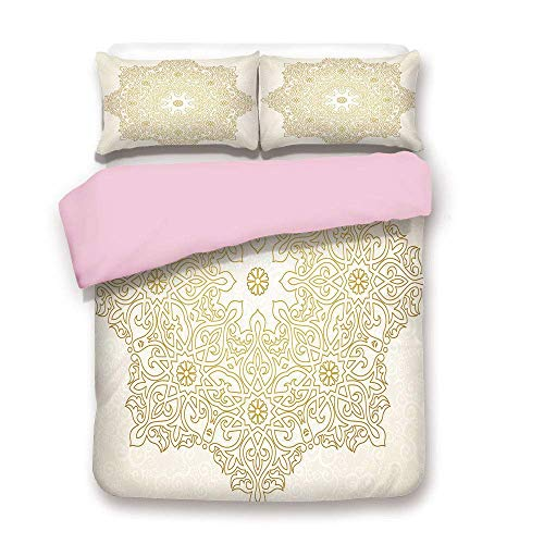 TARTINY Pink Duvet Cover Set,King Size,Antique Lace Pattern Blooming Asian Garden Theme Filigree Style Traditional,Decorative 3 Piece Bedding Set with 2 Pillow Sham,Best Gift for Girls Women,Coconu
