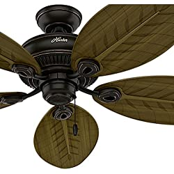 Hunter Fan 54 in. Indoor/Outdoor Ceiling Fan without Light in Onyx Bengal, 5 Palm Shaped Fan Blades Included (Certified Refurbished)