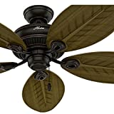Cheap Hunter Fan 54 inch Indoor/Outdoor Ceiling Fan without Light in Onyx Bengal, 5 Palm Shaped Fan Blades Included (Certified Refurbished)