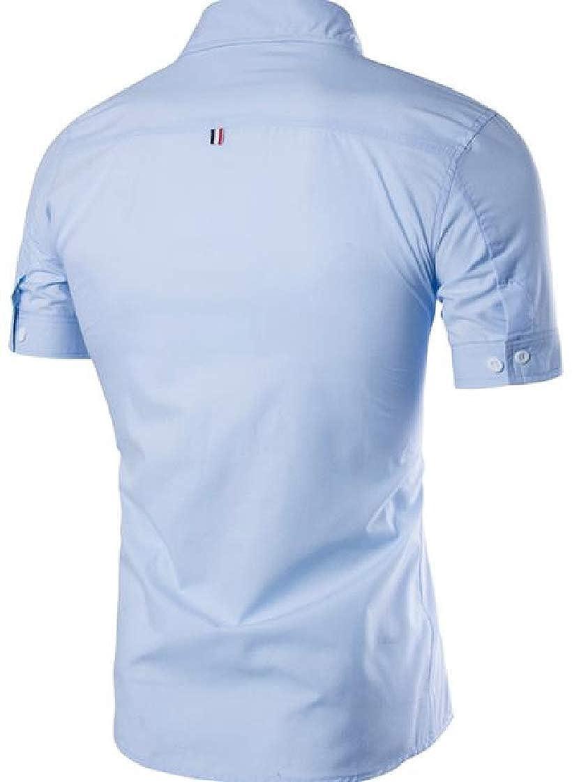 Pandapang Mens Short Sleeve Summer Button Front Contrast Color Slim Fit Shirts