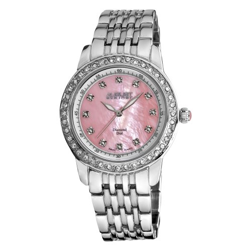 August Steiner Women's AS8045PK Diamond and Crystal Swiss Quartz Bracelet Watch