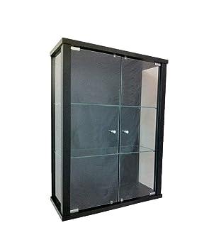 Vitrine Murale 80x60x25 Cm Collection Miniature Noir Avec 2 étagères
