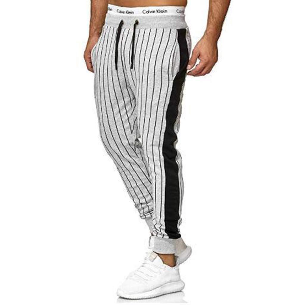 Alueeu Men's Skinny Pants Stripe Fashion Sweatpants Fashion Men's Sport Pure Color Bandage Casual Loose Drawstring Pant Gray by Alueeu Men's