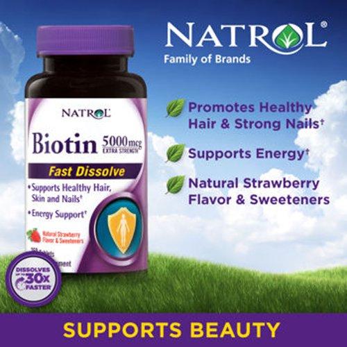 Natrol Биотин Extra Strength 5000 mcg- 250 Fast Растворите со вкусом клубники таблетки