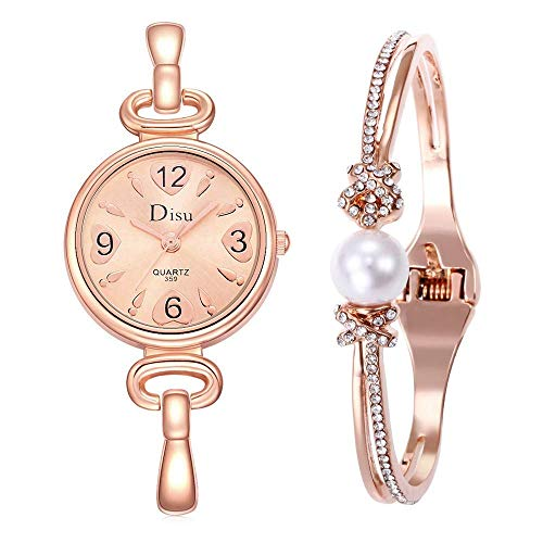 Decorative Watch for Women, Women's Wristwatch & Bracelet Set, Crystal Chain Watch Accented Pearl Bangle DS0309/116 ()
