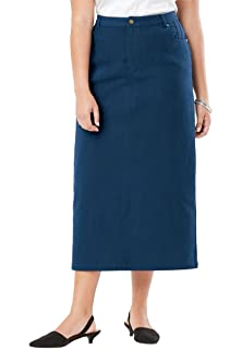 be6fcb7a33 Roamans Women's Plus Size Denim A-Line Skirt - Light Stonewash, 12 W ...