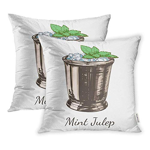 HFYZT Set of 2 Throw Pillow Covers Brown Kentucky Cocktail Mint Julep for The Derby Alcoholic Drink Green Alcohol Pillowcase 18x18 Square Decor for Home Bed Couch Sofa