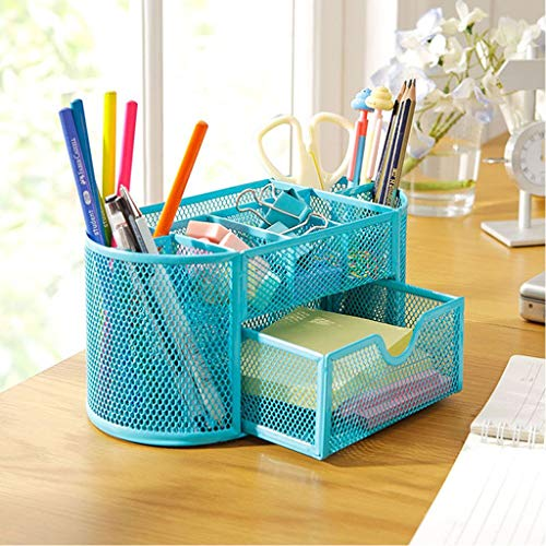 Gotian Metal Mesh Pencils Holder Desk Home Office Stationery Storage Box Organizer Desktop Multi-Function Grid Pen Holder (Blue)