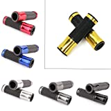 Custom Motorcycle Al+Rubber Gel 7/8'' Handle Bar Grips for Bars End Sport Bike Street Bikes(Gold)