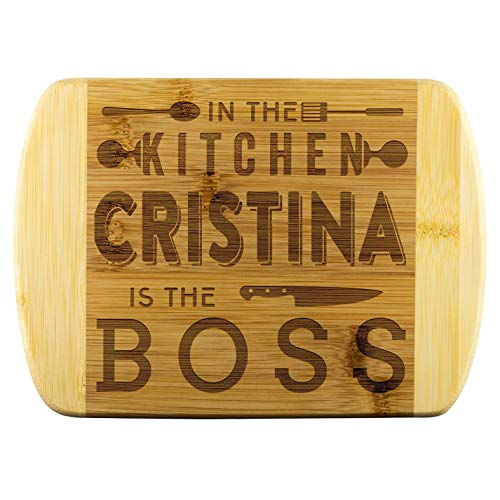 Bamboo Engraved Cutting Board - In The Kitchen Cristina Is The Boss - Custom Gifts - Anniversary Gift- Birthday Gift - Personalized Kitchen Supplies