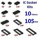 MOONLIGHT 105pcs IC Socket 2.54mm Pitch DIP 10 values 6 8 14 16 18 20 24 28 32 40Pin Adaptor Solder Type Electronic Components Socket Assortment Kit for ICs