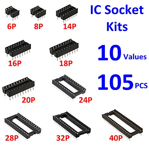 Ic Dip - MOONLIGHT IC Socket Kit 10 values 6 8 14 16 18 20 24 28 32 40Pin Total 105pcs Adapter Solder Type 2.54mm DIP for IC Transistor
