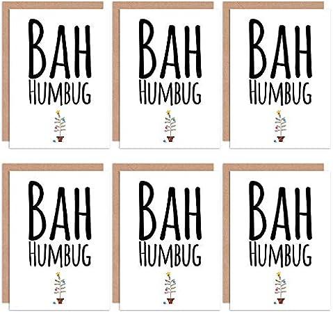 Wee Blue Coo Christmas Cards 6 Pack - Funny Bah Humbug Grumpy Set Xmas Cards Cristo Gracioso: Amazon.es: Hogar