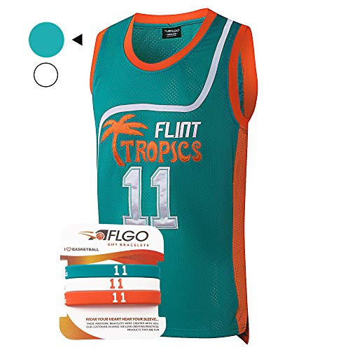 AFLGO Monix #11 Flint Tropics Basketball Jersey S-XXXL, 90's Clothing Throwback Costume Athletic Apparel Clothing Stitched - Top Bonus Combo Set with Wristbands (Green, Large)]()