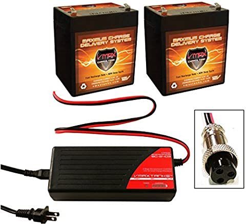 VMAX BC2403XF Charger + QTY 2 VMAX V06-43 12V 6AH Batteries for Razor E100 E125 E150 Electric Scooter Battery Replacement