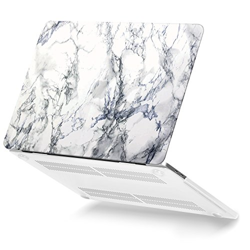 MacBook Pro 13 Case 2017 & 2016 Release A1706/A1708, GMYLE Plastic Hard Case Shell Cover for Apple New Macbook Pro 13 inch With/Without Touch Bar and Touch ID - White Marble Pattern