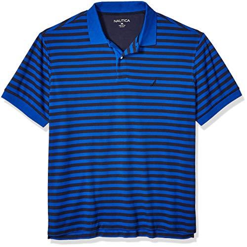 Nautica Men's Big and Tall Classic Fit Short Sleeve 100% Cotton Stripe Soft Polo Shirt, Bright Cobalt, 5X