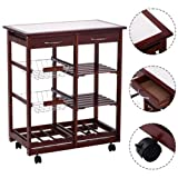 4-tier Rolling Wood Kitchen Trolley Cart w/Storage Drawers Dining Portable Stand