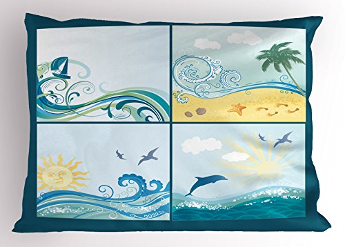 Ambesonne Beach Pillow Sham, Maritime Themed Frames with Waves Sun Trees Dolphins Birds Exotic Sea Pattern, Decorative Standard King Size Printed Pillowcase, 36 X 20 Inches, Blue Beige Green ()