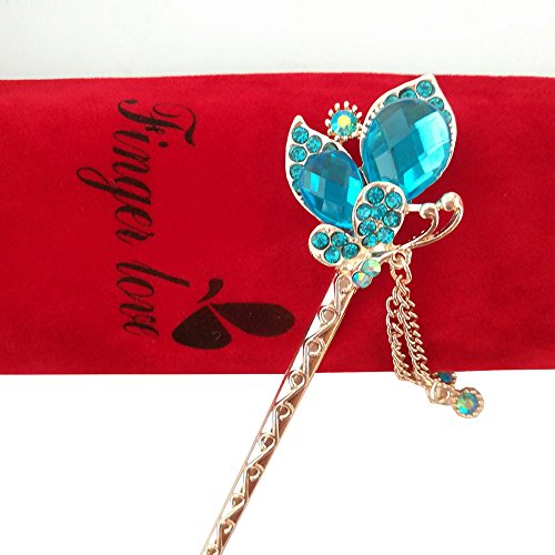Pearl Shell Finish (FINGER LOVE Shell Flower with Pearl Crystal Rhinestone Gold Finish Hair Stick Tassels (H))