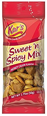 Kar's Sweet 'n Spicy Mix 1.75 oz Single Serving Bags - Tex Mex Blend of Flavored Peanuts, Cajun Corn Sticks and Honey Sesame Sticks (Pack of 72)