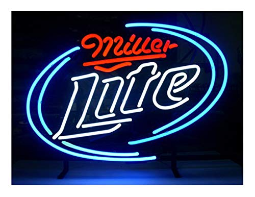 LDGJ Miller Lite Neon Light Sign Home Beer Bar Pub Recreation Room Game Lights Windows Glass Wall Signs Party Birthday Bedroom Bedside Table Decoration Gifts (Not LED) (Clock Awesome Neon)