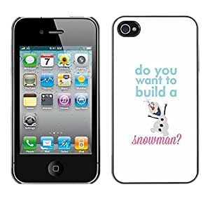 Soft Silicone Rubber Case Hard Cover Protective Accessory Compatible with Apple iPhone? 4 & 4S - snowman quote white winter text