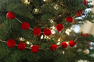 Orchid Christmas Tree.Amazon Com Orchid And Ivy 8 Foot Red Wool Felt Ball Pom Pom
