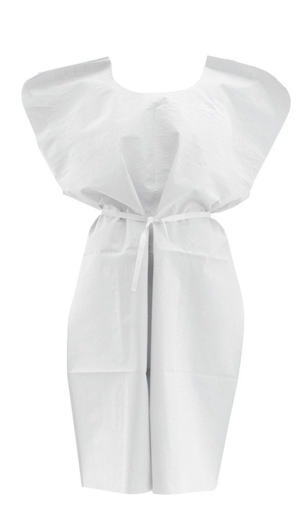 Medline NON24355 Disposable Patient Gowns, 3-Ply T/P/T, 30 in. x 42 in, White (Case of 50)