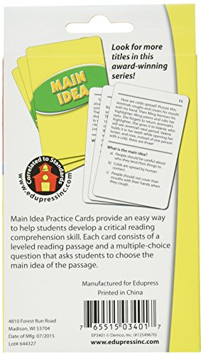 Edupress Reading Comprehension Practice Cards, Main Idea, Green Level (EP63401) Photo #4